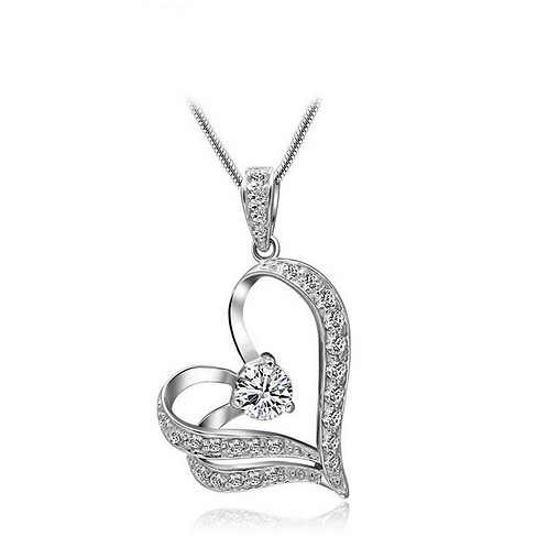 Crystal on my Heart Necklace