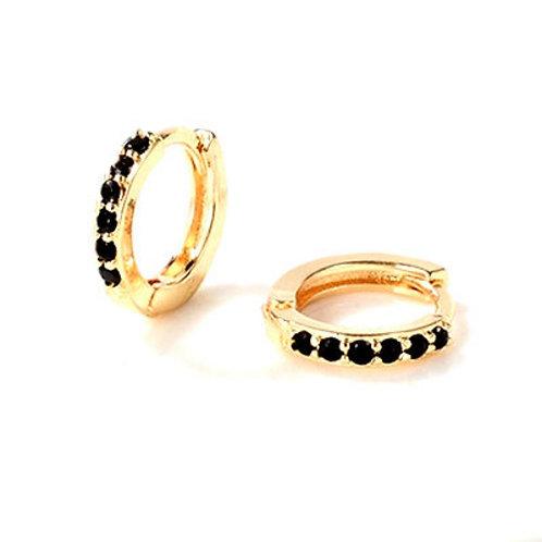 Golden Black Crystals Sleeper Earrings