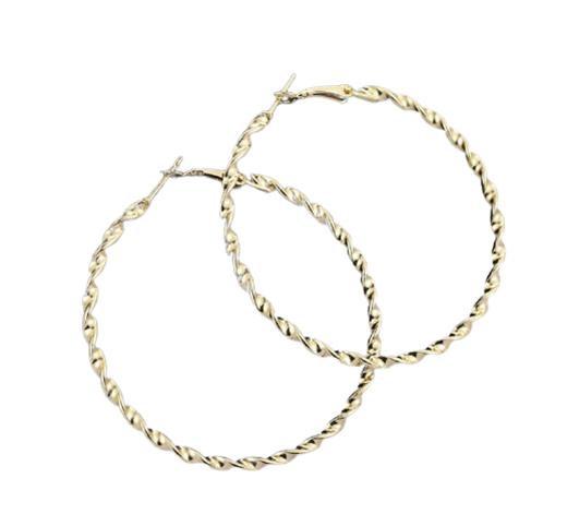 Golden Spiral Hoop Earrings (Various Sizes)