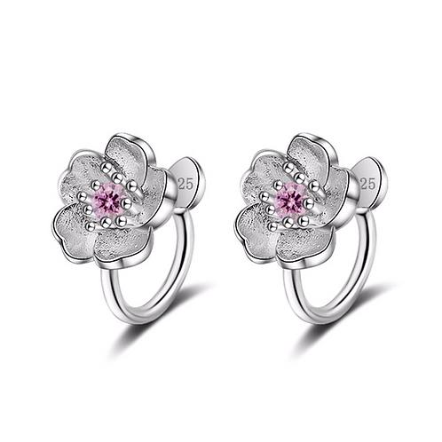 Cherry Blossom Clip on Earrings