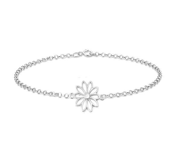 Silver Spring Flower Anklet