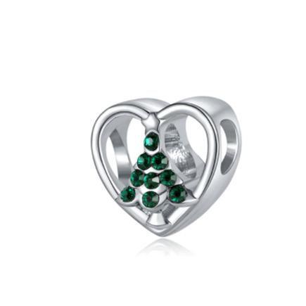 Christmas Tree Heart Charm