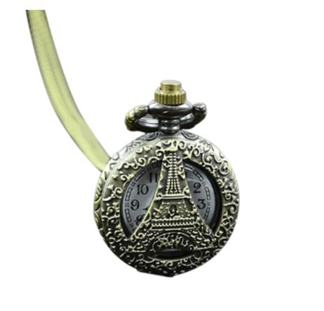 Antique Bronze Vintage Eiffel Tower Pocket Watch