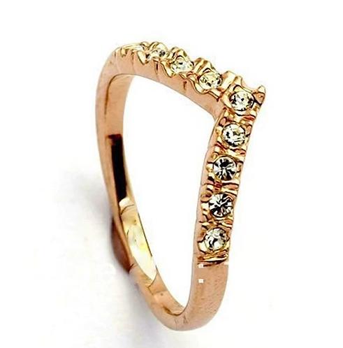 Golden Crystal Wishbone Ring