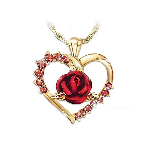Heart's Rose Necklace