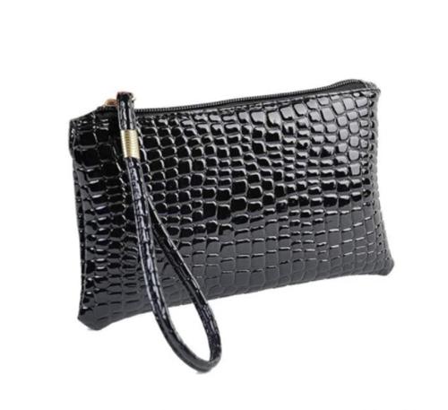 Ladies Crocodile Cosmetic Bag (Black)