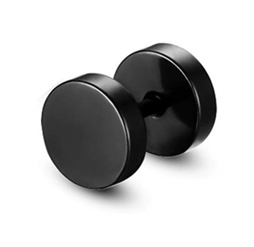 Men's Black Dumbell Ear Stud