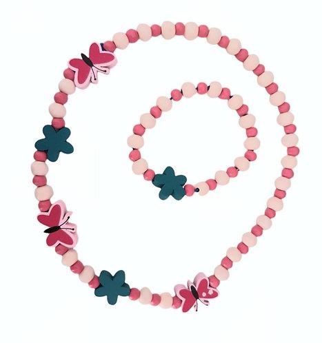 Butterfly Flowers Necklace & Bracelet Set