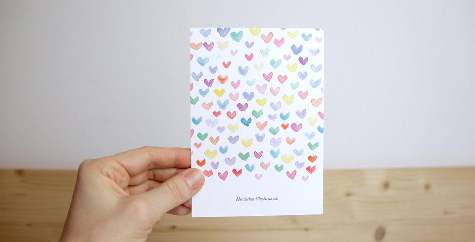 Postkarte Herzen 'Herzlichen Glückwunsch.'
