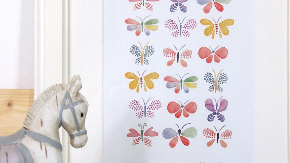 """Print Schmetterling """"Wachse mit der Leichtigkeit eines Schmetterlings."""", A4"""