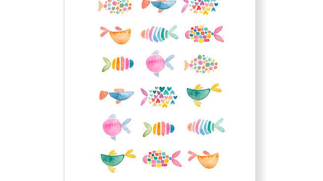 """Postkarte Fische """"Durch ein Kind wird aus einer Pfütze ein Ozean."""""""