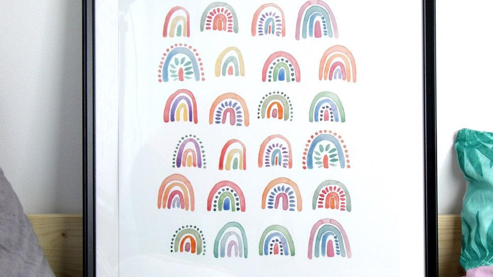 """Poster Regenbogen """"Lass uns gemeinsam die Welt neu entdecken."""", A2"""