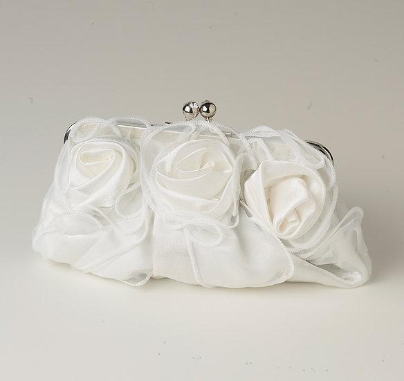 Satin & Sheer Roses White Flower Bridal Purse