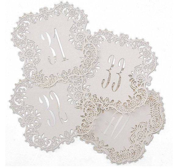 Laser Cut Table Number Cards - White - (Set of 10)
