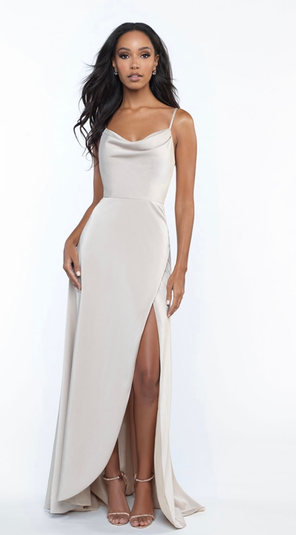 A draped neckline softens the silhouette of this strappy stretch satin gown. Come to see the Allure 1685 at Madelange Laroche Bridal Design  Studio. Book your appointment here.