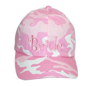 Pink Camo Bride's Hat / Green Camo Groom's Hat