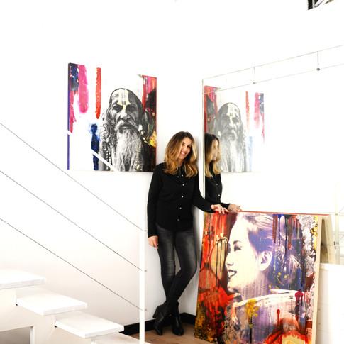 quadri fotografici stampati su tela dipinti con resine,paste e acrilici