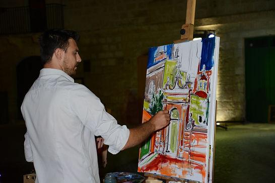 Stephen Grima Live Painting at Mellieha Malta