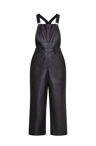 BCBG MAX AZRIA FAUX LEATHER OVERALL LARGE