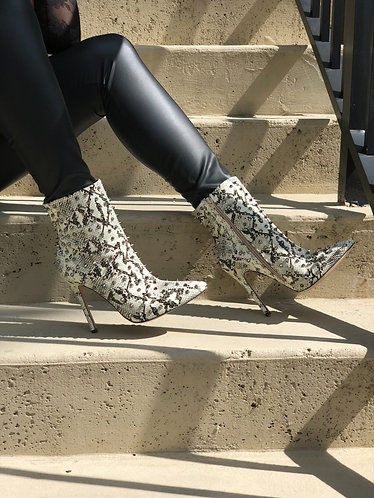 Snake print booties with Studded accents