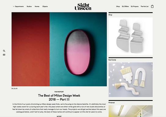 """Sight Unseen """"The Best Milan Design Week 2018"""""""
