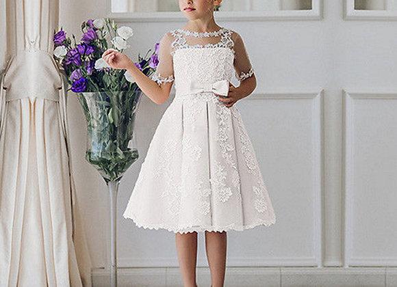 Lace  Half Sleeve Knee Length Flower Girl Dress