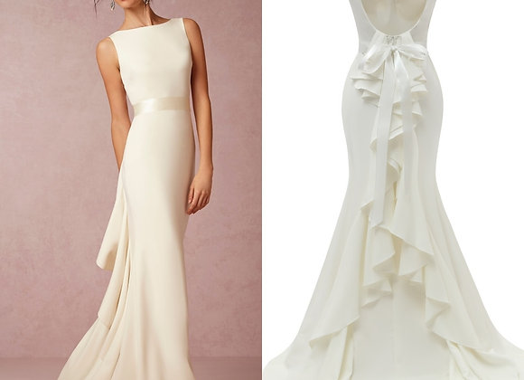 Boat Neck Backless Plain Soft Satin Simple  Bridal Gown