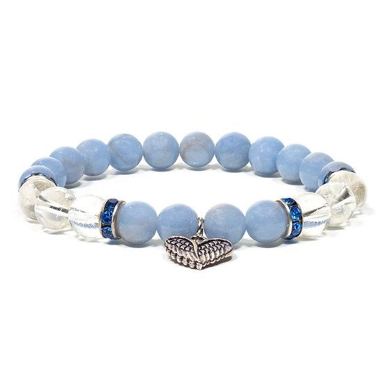 Angelite/rock crystal bracelet elastic