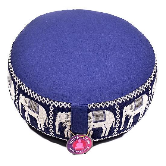 Meditation cushion dark blue with elephants
