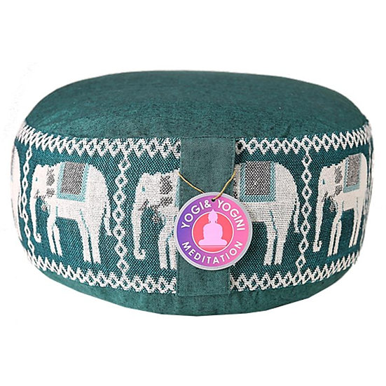Meditation cushion green with elephants