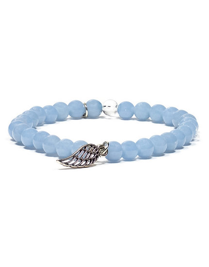 Angelite bracelet with angel wing elastic