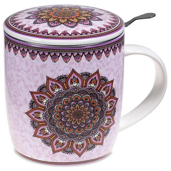 Gift box Tea Infuser Mug Mandala purple