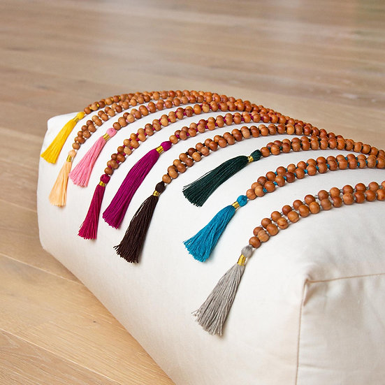 Mala sandalwood with coloured tassel, 108 beads