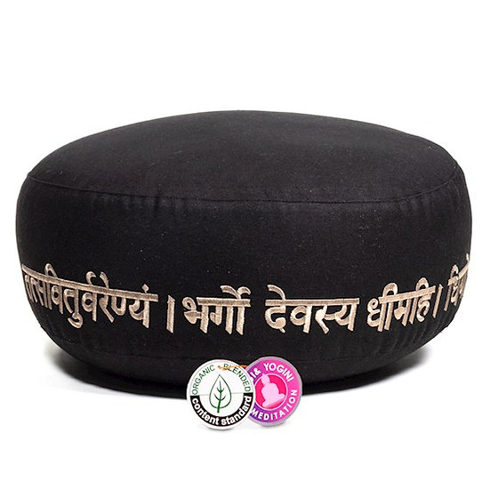 Meditation cushion gayatri mantra organic cotton