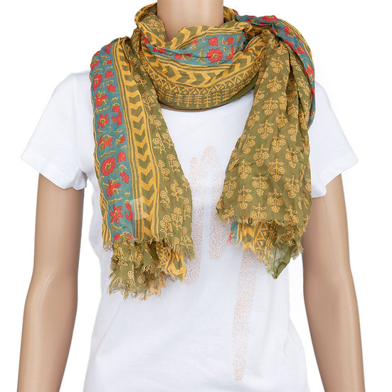 Printed cotton shawl, olive/mustard/petrol