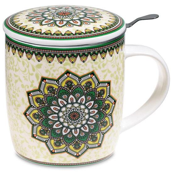 Gift box Tea Infuser Mug Mandala green