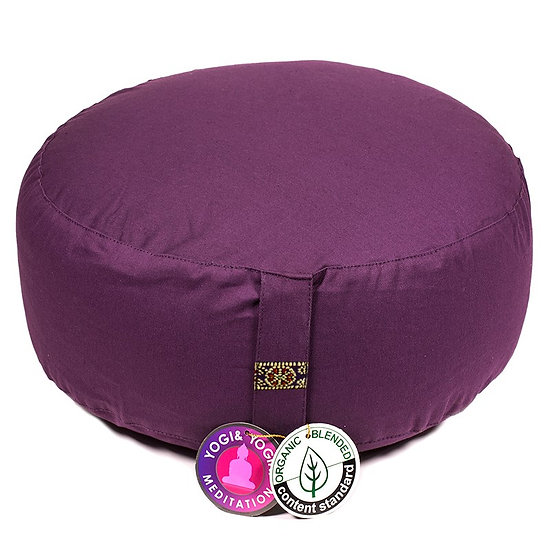 Meditation cushion deep purple organic cotton