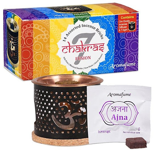 Aromafume Chakra sample set: Diffuser + 14 Incense bricks