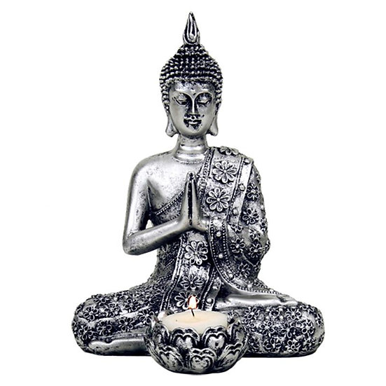 Buddha with candle holder silver