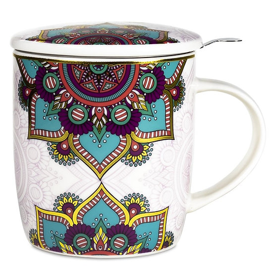 Gift box Tea Infuser Mug Mandala turquoise