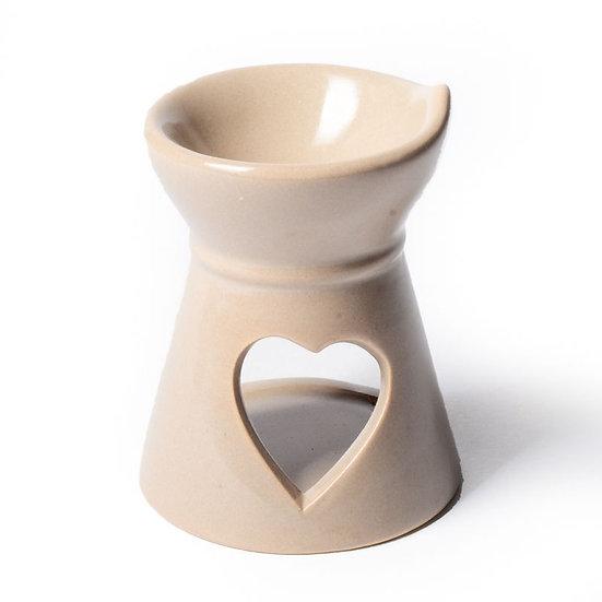Aromatic wax burner heart beige