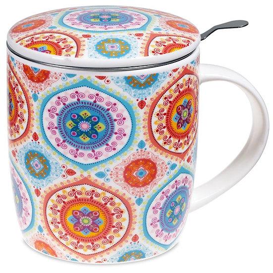 Gift box Tea Infuser Mug Mandala blue