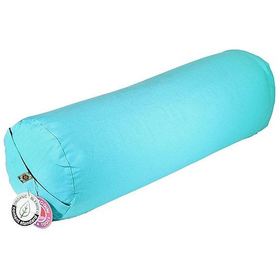 Yoga Bolster round turquoise organic cotton
