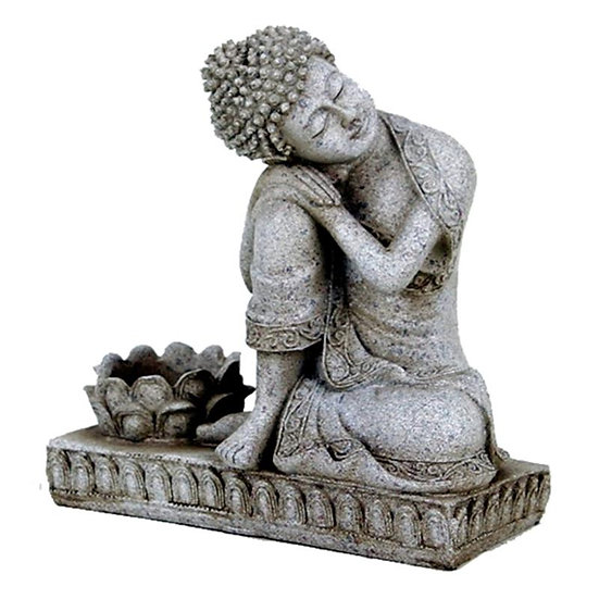 Buddha with candle holder grey