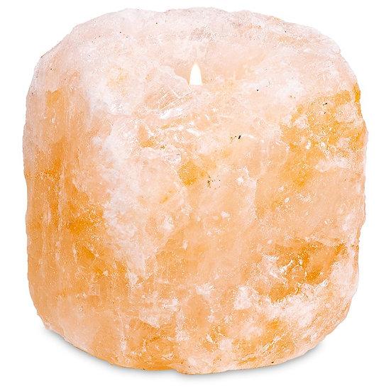 Crystal salt tea light holder