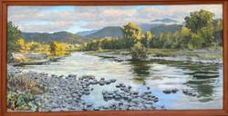 "Jarvela-Incoming Fog acrylic on panel, framed. 31 1_2 x 62 1_2"""