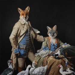 Fox Family and their Treasured Feather Friends