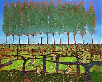 Draegert-Winter Vines with Cedar Waxwing