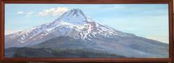 """Jarvela-Mt Hood Moon  acrylic on panel, framed 27 x 75"""""""