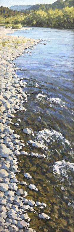 "Jarvela-Salmon Trail- acrylic on canvas 38 x 13 3/4"""